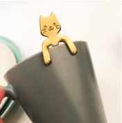 ZYXY Coffee Spoon Stainless Steel Cat Dessert spoon Drink Spoons Mixing Spoon Milkshake Spoon Tableware Kitchen Supplies Gold