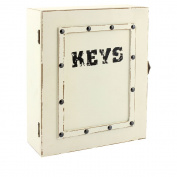 Shabby Chic Cream Studded Wooden Key Box