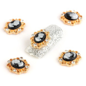 So Beauty 10pcs Gold Flower with Rhinestone 3D Alloy Nail Art Slices Glitters DIY Decorations