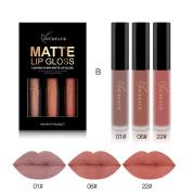 Clearance! Snowfoller 3PCS New Fashion Waterproof Matte Liquid Lipstick Cosmetic Sexy Lip Gloss Kit