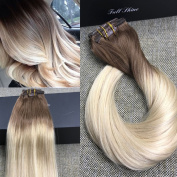 Full Shine 41cm 7 Pcs 120 Gramme Colour 6B Fading to 613 Blonde Balayage Extensions of Remy Human Hair Clip in Extensions Human Real Hair Clip in Extensions