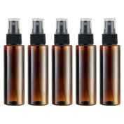 Empty Plastic Spray Bottle 100ML - 5 Piece 3.4oz Fine Mist Sprayer by Auger - Reusable Dark Coloured Bottles for Essential Oil, Aromatherapy, Cleaning Products, Travel and Any Purpose