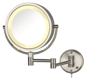 Jerdon HL75N 22cm Lighted Wall Mount Makeup Mirror with 8x Magnification, Nickel Finish