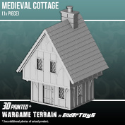 Cottage, Terrain Scenery for Tabletop 28mm Miniatures Wargame, 3D Printed and Paintable, EnderToys