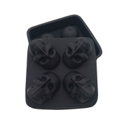 3D Skull Ice Cube Mould Tray, Pawaca Food Grade Flexible Silicone Ice Cube Maker for Bar Party, Makes Four Giant Skulls