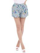 Unique Bargains Juniors Retro Smocked Waist All Over Floral Prints Slim Fit Shorts
