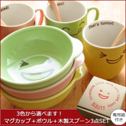 I am available from three colours. Mug cup bowl spoon three points set