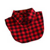 Women Fake Collar Half shirt Detachable Fake False Collar,Red Lattice