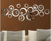 DIY 3D Mirror Acrylic Wall Stickers Creative Circle Ring Modern Wall Decal