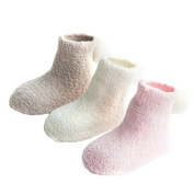 SW-Ning Solid Colour Coral Cashmere Baby Socks Cute Small Ball Warm Socks Celebrate Newborn Baby Gifts Girls Boys