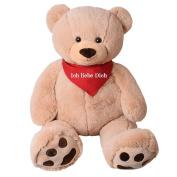 TE-Trend XXL Giant teddy Bear Stuffed Cuddle Animal Giant plush Big teddy bear bear Rico Beige 135 cm with Paws - Rico Ich liebe dich Beige