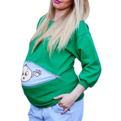 Q.KIM Casual Women Maternity Cute Baby Funny Pregnant Long Sleeve Sweatshirt Scoop Neck Plus Size Tops