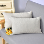Natus Weaver Linen Lumbar Cushion Covers Throw Pillow Cases for Sofa / Bench / Couch, Light Grey , 30cm x 50cm , 2 pieces