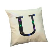 Staron Christmas Pillow Case LED Lighting Cushion Cover Flashing Letter Throw Pillowcase Sofa Home Decor 46cm X 46cm