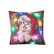 Staron Christmas Pillow Case LED Lighting Cushion Cover Flashing Home Decor Throw Pillowcase Sofa Decorative 46cm X 46cm