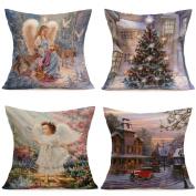 4PCS Xmas Decor Merry Christmas Pillowcase,Aritone Linen Cotton Sofa Pillow Cover 46cm x 46cm