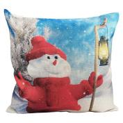 Showking Happy Christmas Decorative Throw Pillow Cases Linen Sofa Cushion Cover Home Decor