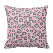 Fashionable Designed Durable Cotton Pillowcase Dark Pink And Green Leopard Animal Print Decorative Square Cotton Throw Pillow Cover Cushion Case Zippered Two Sides