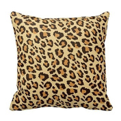 Fashionable Designed Durable Cotton Pillowcase Classic Brown Leopard Animal Print Decorative Square Cotton Throw Pillow Cover Cushion Case Zippered Two Sides