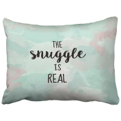Emvency Pillowcases Snuggle Quote Cute Kids Gift Boyfriend Purple And Teal Funny Gifts Throw Pillow Covers Cases Cushion Cover Case Protectors Decorative Sofa Standard 50cm x 70cm One Side Print