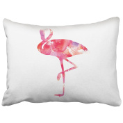 Emvency Pillowcases White Background Peach Watercolour Flamingos Accents Girls Throw Pillow Covers Cases Cushion Cover Case Protectors Decorative Sofa Standard 50cm x 70cm One Side Print
