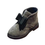 Inverlee Girls Fashion Autumn Winter Warm Children Martin Anti-slip Shoes Boots with Bowknot Decoration