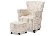 Classic Club Chair & Ottoman in Beige Fabric