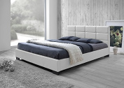 Contemporary Platform Full Size Bed in White Faux Leather