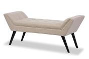 Mid-Century Modern Bench in Dark Beige Fabric