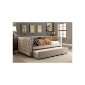 Barter Nail Trim Button Tufted Twin Daybed W/Trundle - Ivory Fabric