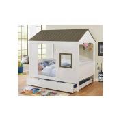 Tisbury Cottage House Full Bed - Grey/White Wood