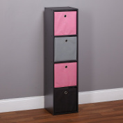 Target Marketing Systems Contemporary Utility 4 Bin Style Shelf Freestanding Tall Bookcase, Pink/Grey/Black