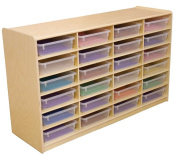 24-Letter Tray Storage Unit with 7.6cm . Translucent Trays