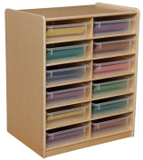 12-Letter Tray Storage Unit with 7.6cm . Translucent Trays