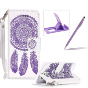 Strap Pu Leather Case for Galaxy S6,Wallet Flip Cover for Galaxy S6,Herzzer Classic Elegant Book Style [White Purple Wind Chime] Embossed Stand Folio Case for Galaxy S6