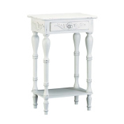 LOVELY WOOD WHITE AGED SIDE,END TABLE,NIGHT STAND - 45cm x 33cm x 70cm high
