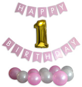 Baby Girl's First Birthday Party Supplies & Decorations Set with Banner, Pink & White Balloons, & Jumbo Number 1 Gold Balloon