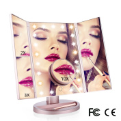 Lighted Vanity Makeup Mirror 21 LED Lighted Tri-Fold Mirror with Touch Screen and 180°Adjustable Stand Upgraded 6 Warm Lights Beads Travel Cosmetic Mirror
