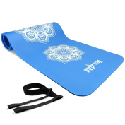 """Yes4All Premium NBR Printed Yoga Mat 1.3cm (72""""x 24"""") with Carrying Strap – Multi Colour Available – Beautiful Designs & Textured Non Slip Surface"""