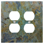 Tropical Green Granite Printed 2 Duplex Electrical Outlet Wall Plate