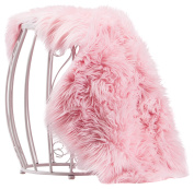 Chanasya Super Soft Faux Fur Fake Pink Sheepskin Sofa Couch Stool Casper Vanity Chair Cover Rug / Solid Shaggy Area Rugs For Living Bedroom Floor - Pink 2ftx0.9m