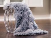 Chanasya Super Soft Faux Fur Fake Sheepskin Grey Sofa Couch Stool Casper Vanity Chair Cover Rug / Solid Shag Area Rugs For Living Bedroom Floor - Slate Blue Grey 2ftx0.9m