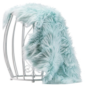 Chanasya Super Soft Faux Fur Fake Sheepskin blue Sofa Couch Stool Casper Vanity Chair Cover Rug / Solid Shaggy Area Rugs For Living Bedroom Floor - Turquoise 2ftx0.9m