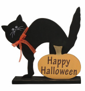 Wooden Black Cat Happy Halloween Sign - Tabletop Halloween Decoration