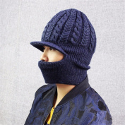 Wool hat male knitting outdoor riding warm hat male mask with masks hat, navy blue