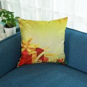 Masrin Merry Christmas Print Square Pillowcase Linen Cotton Sofa Waist Cushion Cover Home Party Decor