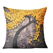 FlowerKui Stereo Vintage Painting Trees Pillowcase for Home Sofa Decoration