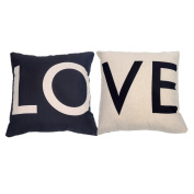 Fablcrew Couple Pillowcases Romantic LOVE Letter Pattern Cushion Cover for Anniversary Wedding White