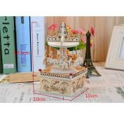 Square Carousel Music Box Original Wood Crafts Creative Home Decoration Small Gift