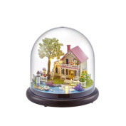 DIY cabin Villa around the transparent cover models with music box girlfriend girlfriends birthday gifts , spring flowers
